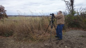 Richard filming the Diller story at Gettysburg, PN. RCW photo.